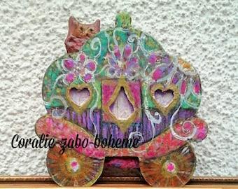 Roulotte bohème en bois peinte à la main-bohème décoration originale-esprit roulotte-hibou en céramique-fleurs crochet