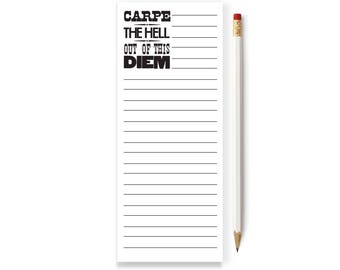 Carpe Notepads, Typography Notepad, List, Skinny Notepad, To do List Notepad, Notepad, To do or not to do list, Notepad