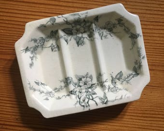 Antique ironstone  transferware soap dish