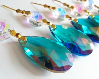 5 Caribbean AB Teardrop Chandelier Crystals Iridescent Green Prisms 38mm