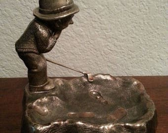 Silver Golfer Guy Figurine