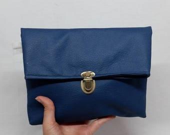 SALE Blue Fold Over Clutch, Vegan Clutch bag, Fold Over Purse, Blue Faux Leather, Blue clutch, Fold Over clutch, Vegan Bag