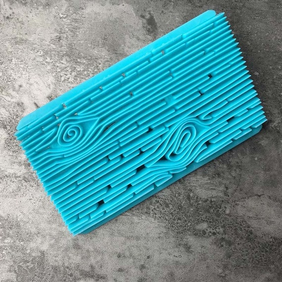 Woodgrain, Plastic imprint stamp texture is for polymer clay, Mokume stamp, cookies, fondant cake decorating