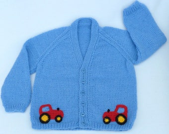 Child's sweater, Baby boy hand knitted baby cardigan in blue, to fit age 2 to 3 months child. Kidswear,  boys clothing, childrens clothes