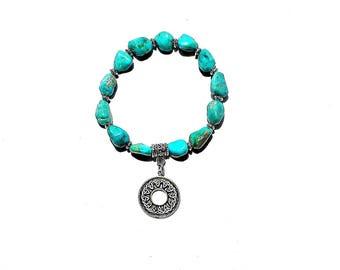 Turquoise Nugget Bracelet with Celtic Circle Charm / Rough Gemstone Bracelet / Beaded Bracelet