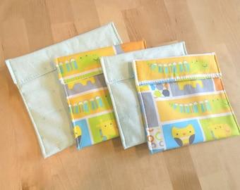 Set of 4 animal print reusable snack bags