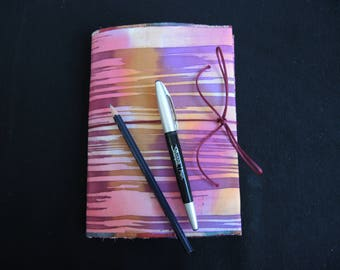 NEW Autumn Stripe Painted silk sketchbook cover and pad, A5 plain, every one One Of A Kind unique- art gift -stockingfiller ready to ship