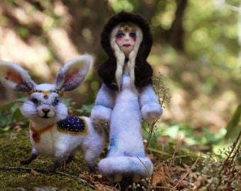 Andraste, Needle Felted Art Doll, Poseable Art Doll, Fantasy Art Doll, Celtic Goddess, Fantasy Figure, Needle Felted Bunny, Warrior Goddess