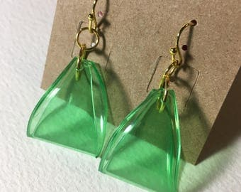 Gold Plated Green Plastic Soda Bottle Triangle Hoop Earrings - Recycled - Upcycled - Repurposed