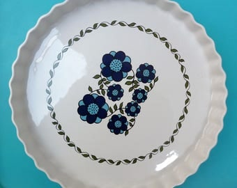 Vintage Taunton Vale pie dish - fluted edge and cheerful blue floral decoration