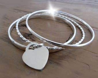 Triple Silver Bangle Set with Personalised Heart,  Set of Three Silver Bangles with Heart, 3 Silver Bangles, Silver Bangles Set of Three