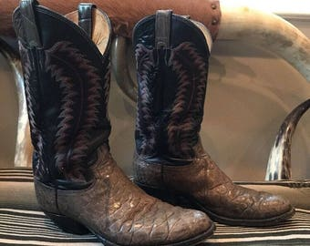 Vintage Justin Exotic Leather Boots Size 9.5D Western Rodeo Cowboy Shirt 70s 80s Honky Tonk Ranch Country Western