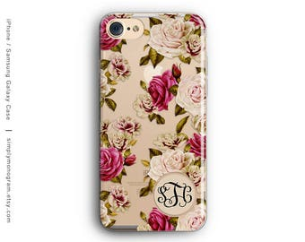 iPhone 7 Case, Galaxy S8 Plus Case, iPhone 7 Plus Case, iPhone 8 Plus Case, iPhone X Case, Monogram, Roses, Galaxy S7 Case, Rubber Case