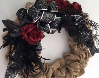 Halloween wreath, Muslin wreath, Halloween floral, Door wreath, Halloween decor, Spider Web, Goth  Halloween