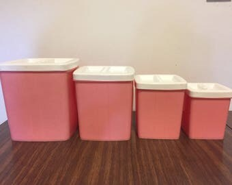Vintage Pink Lustroware Style Plastic Canister Set 1950's Pink Kitchen Storage Containers 1960's Mid Century Kitschy Kitchen MCM Retro Nest