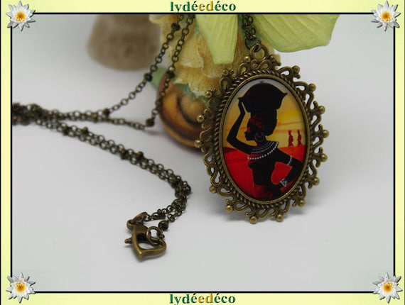 Necklace, retro woman African ethnic black orange yellow retro vintage resin and brass Locket 18 x 25mm