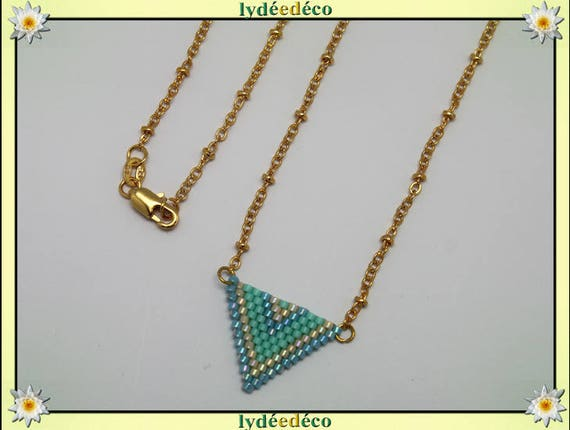 Necklace plated 18 k blue green turquoise beige and gold woven triangle chevron chain ball