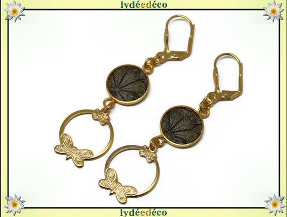 LEAF brass gold 24 carat 24 k leaf brown beige resin pendants print earrings creole butterflies