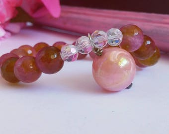 Hanging Pink Bead Gemstone Stretch Bracelet
