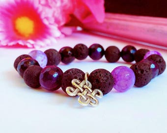 Essential Oil Diffusing Dark Purple Night Gemstone Bracelet