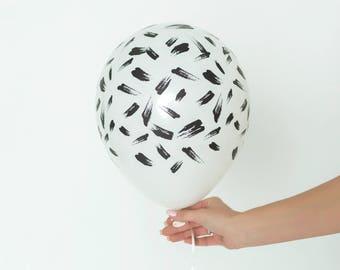 Black Brush Stroke Balloons - Set of 3 Custom Printed Abstract Brush Stroke Balloons - Black and White Balloons - Chic Party Balloons