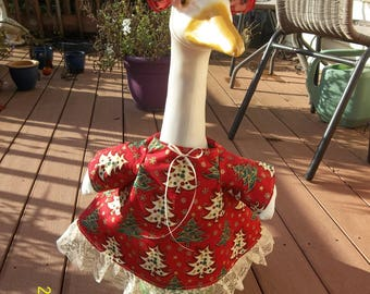 Goose Dress - Christmas Trees on Red