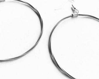Guitar String Earrings | Silver toned hoops | Music Jewellery | Hoop Earrings