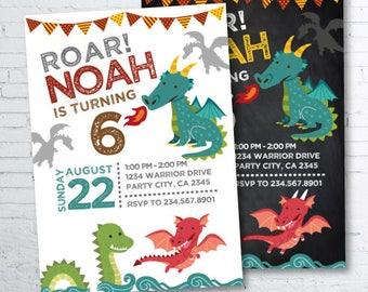 Dragon Invitation, Dragon Birthday Party, Knight Invitation, Medieval Birthday Party, 2 options, DIGITAL