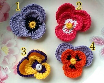 4 Crochet Pansy Crochet Flowers In 1-3/4 inches YH - 252
