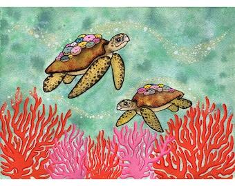 Sea Turtles and Doughnut Barnacles - Watercolor and Ink - Ocean Art - Doughnut Art donut art