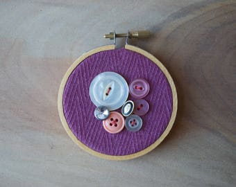 Tiny Vintage Button & Textile Wall Hanging