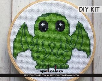 Cute Cthulhu Counted Cross Stitch DIY KIT Intermediate