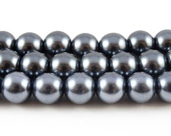 Gray Pearl Beads, Faux Pearl Glass Beads, 8mm - 1 strand (FP14)
