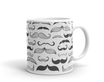 Cute Mustache Moustache Pattern Manly Coffee Mug For Men Hipster Dad Shaving Funny Mens Mustache Gifts