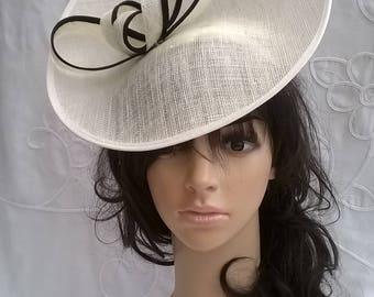 Ivory & Black Fascinator..Stunning Sinamay Fascinator on a Headband..Black accent feathers