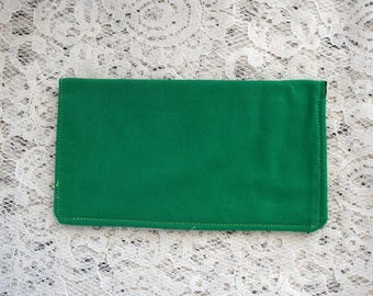 Green Slim Fabric Checkbook Cover, Cash Envelope, Check Wallet