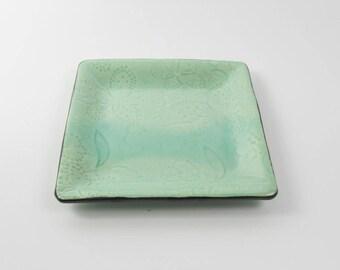 Vanity tray  - green pottery tray -  bath organizer - desk organizer - candy dish  T1