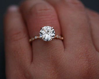 RESERVED For Toby- FIRST Payment 14k Rose Gold Moissanite Round 9mm Solitaire and Diamond Milgrain Band Engagement Ring