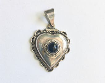 vintage Mexican heart locket in sterling and onyx