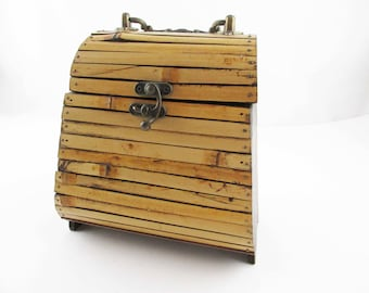 Vintage Bamboo and Wood Purse With Brass Swing Handle - Bamboo Purse - Brass Clasp - Tacked Bamboo - Made in China