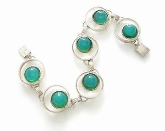 Vintage Chrysoprase Silver Bracelet Bracelet | Vintage Jewellery | Modernist Gemstone Jewelry