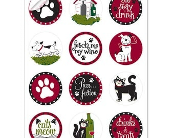 Pet Party Wine Glass Decals, 1 Inch Round Glass Tags, Glass Charms, Hostess Gift, Glass Not included, 12 Per Pack