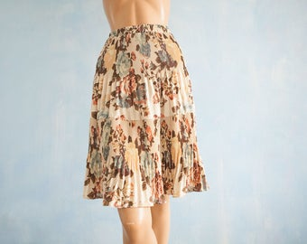 90s vintage creme brown green floral print skirt/accordeon pleated casual knee lengt skirt/S