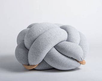 Medium knot Floor Cushion in Light grey, Knot Floor Pillow pouf, Modern pouf, cushion, pouf ottoman, Meditation Pillow,