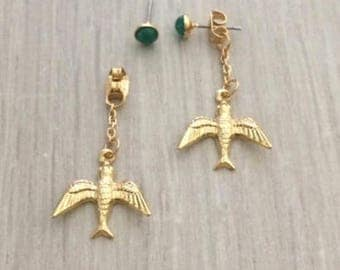 Rhinestone Studs with Bird Charm, Studs, Gold Earring, Ear Jacket
