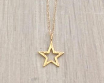 Gold Star Necklace,  Gold Necklace, Dainty Necklace, Chain Necklace
