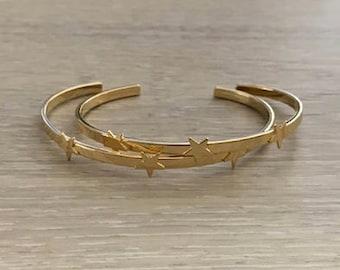 Triple Star Cuff, Gold Cuff, Thin Cuff, Gold Bracelet, Star Bracelet