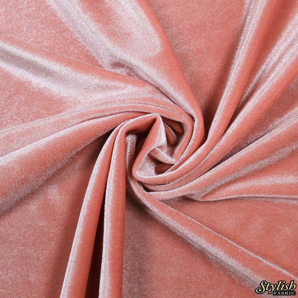 Light Coral Velvet Stretch Fabric By The Yard