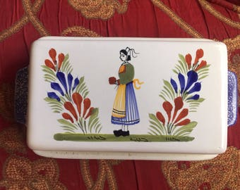 French Country Quimper Henriot Covered Butter Dish