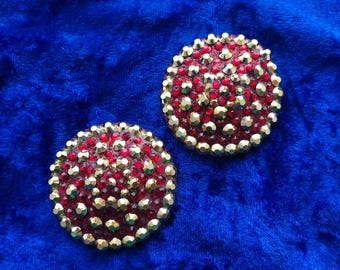 Red and gold burlesque pasties